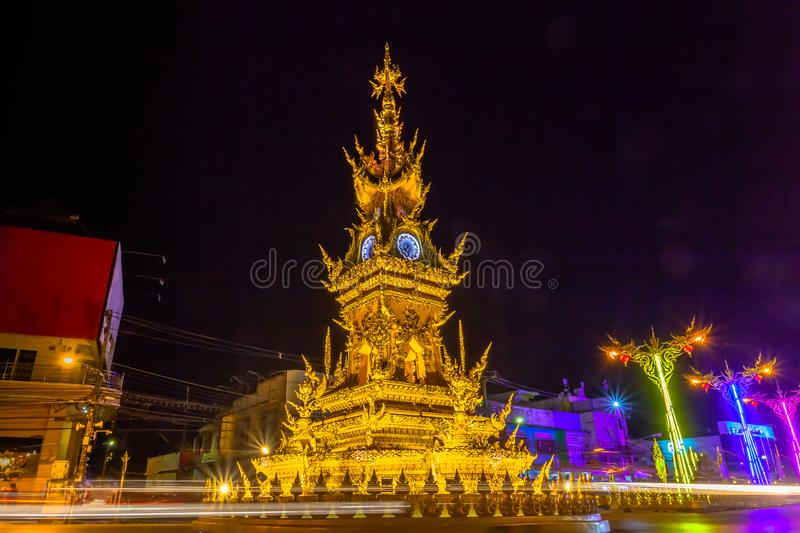 beautiful sculpture clock tower in central of Chiang Rai city stock photos
