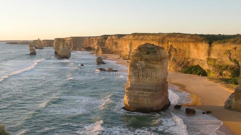 Sunset close up of one of the twelve apostles on the great ocean road. In victoria, australia royalty free stock photography
