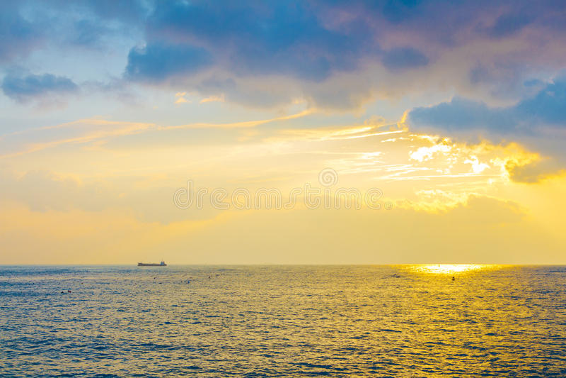 Sunrise beach in Busan, Korea royalty free stock images