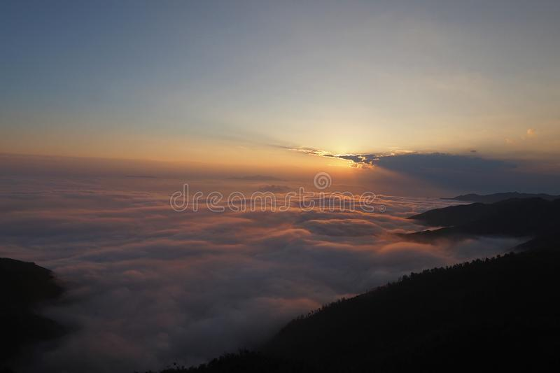 Sunset in Ta Xua Commune, Son La Province. Sunset with Cloud sea in Ta Xua Commune, Beautiful landscape royalty free stock image