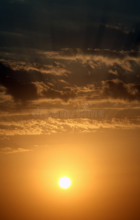 Sunset with clouds royalty free stock photo