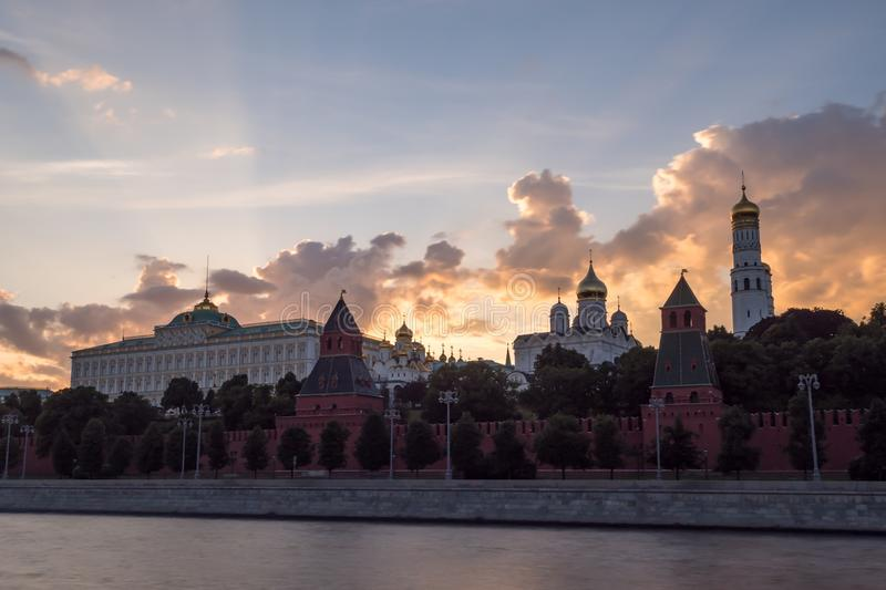 Sunset Clouds above Grand Kremlin Palace, and Churches of Moscow Kremlin. View from Moscow river stock image
