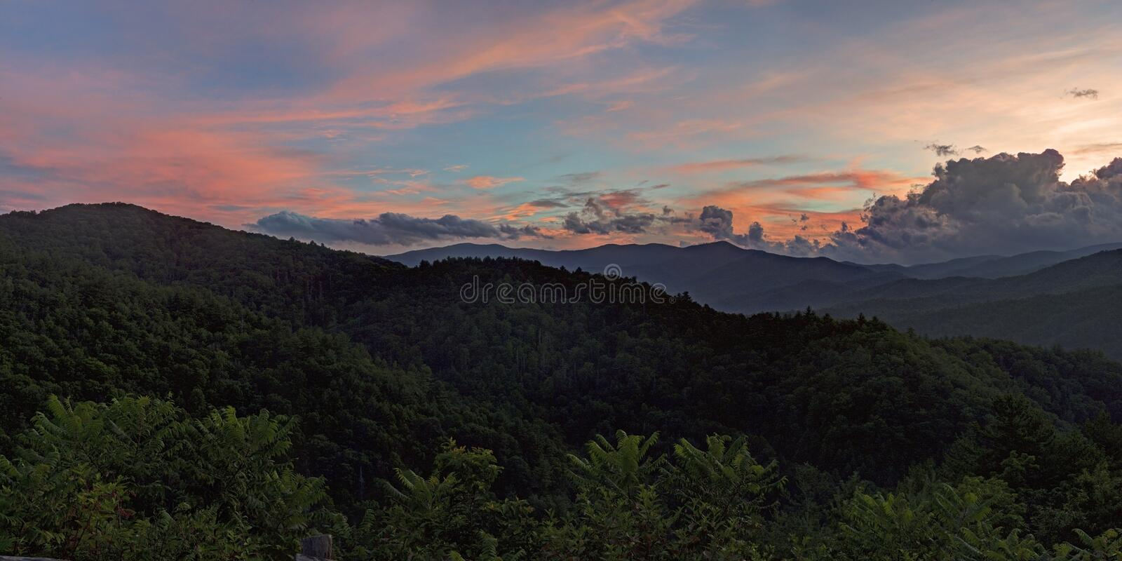 Sunset Through the Clouds, Great Smoky Mountains stock image