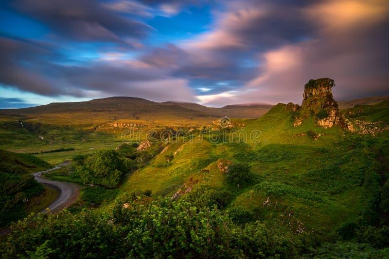 Fairy Glen sunset royalty free stock photography