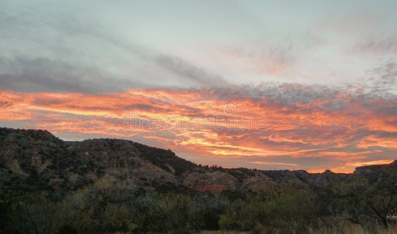 Sunset clouds palo duro canyon, llano estacado plains, texas. Sunset and canyon rim over palo duro canyon texas high plains stock photos