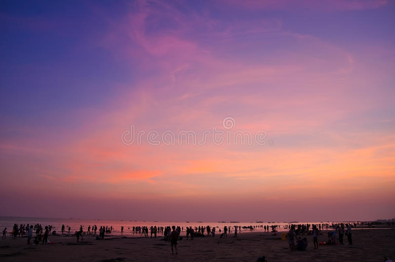 Sunset clouds. When the sun goes down, the beautiful sunset glow royalty free stock photography