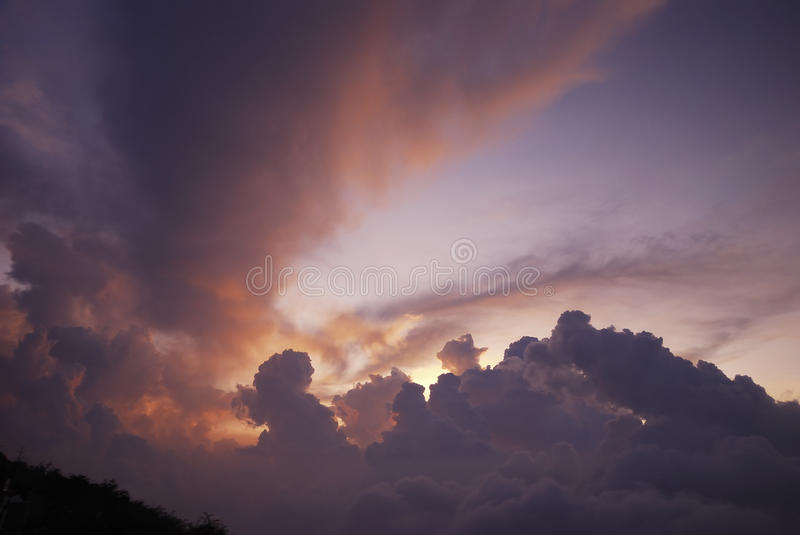 Sunset clouds at the top of emei mountain royalty free stock photos