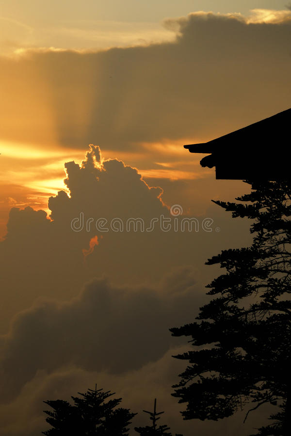 Sunset clouds at the top of emei mountain royalty free stock images