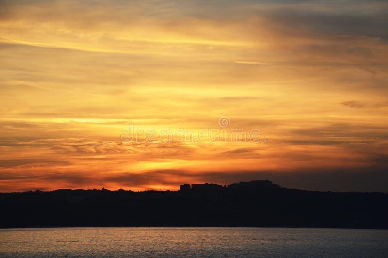 Sunset, cloudscape, sky background royalty free stock photography