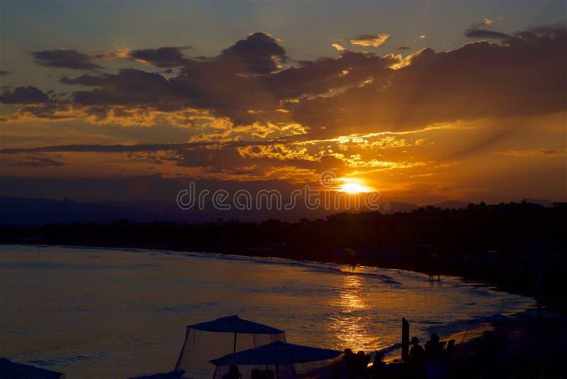 Sunset on the Coast of Salou, Spain. Beautiful coastal line and beaches of Salou, Catalunya, Spain royalty free stock image