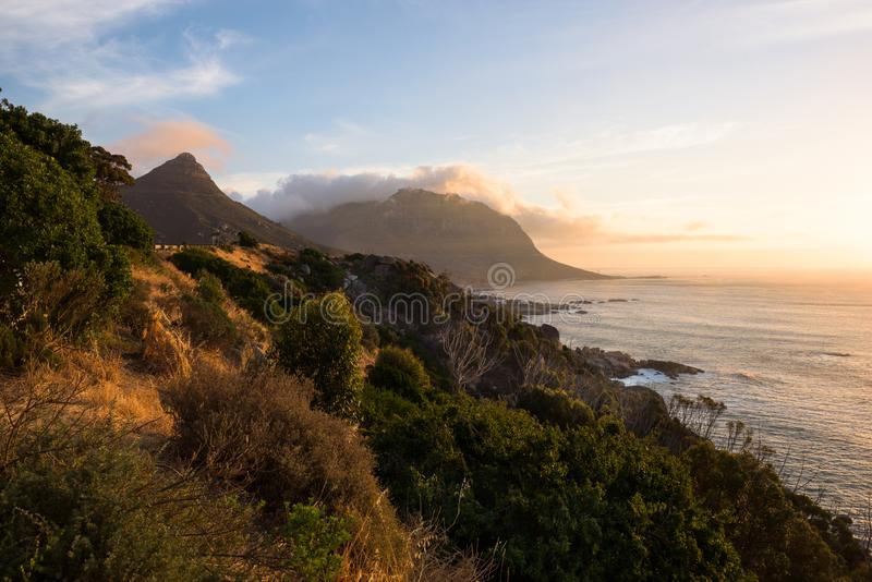 Sunset at the coastline around Chapman's Peak Drive. Sunset at the coastline around Chapman's Peak Drive, Cape Town, South Africa royalty free stock images