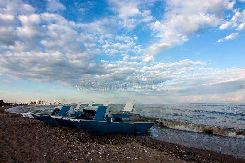 Sunset at coastline in Mariupol stock image