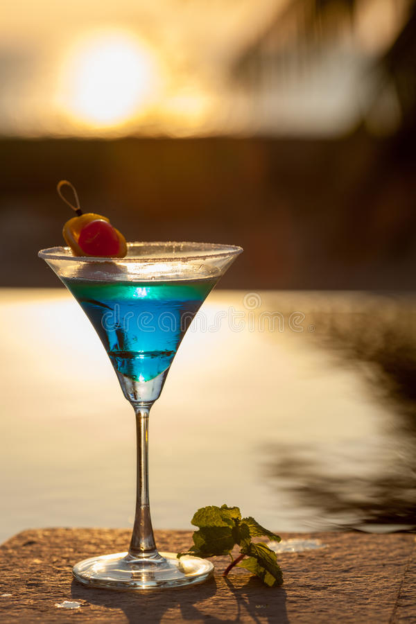Download Sunset Cocktail stock image. Image of silhouette, restaurant - 83708869
