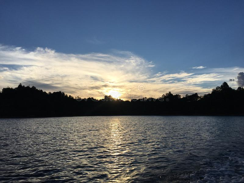 Sunset at Colombia stock images