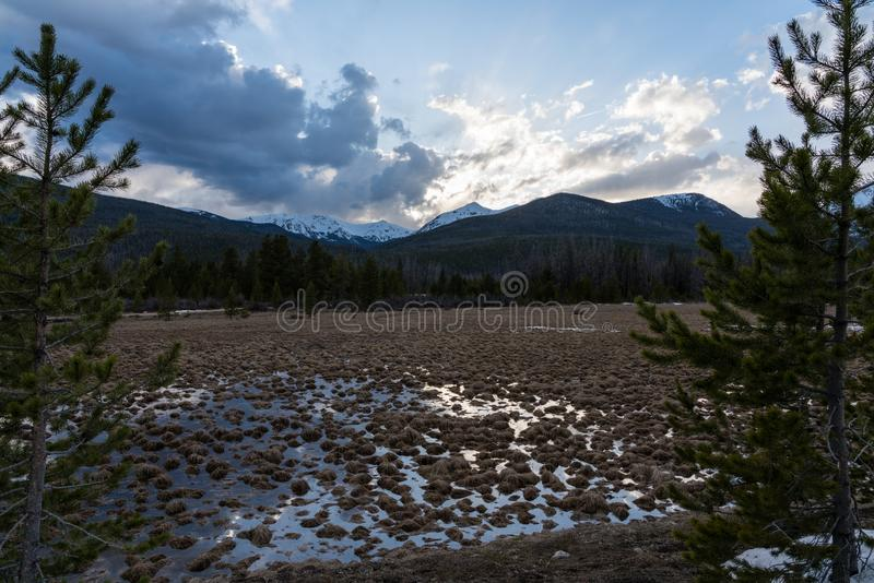 Sunset in Colorado. Rocky Mountain National Park - Grand Lake, Colorado stock image