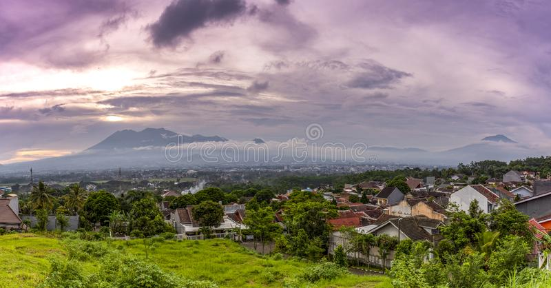 Sunset with views of Malang Java city of Indonesia. Sunset Colorful sky with views of Malang Java city of Indonesia royalty free stock image
