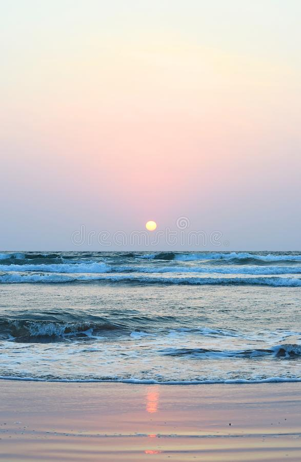 Sunset with Colorful Sky at Ware Beach, Ganpatipule, India royalty free stock photos