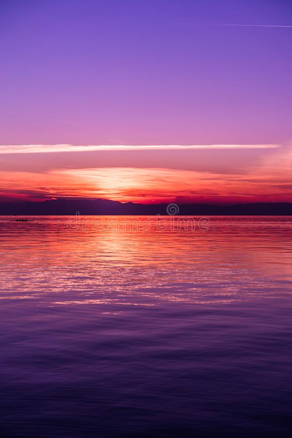 After Sunset Colors by the Sea, Purple tones stock image