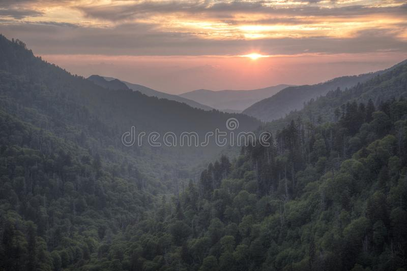 Sunset colors in the Smoky Mountains National Park. stock photos
