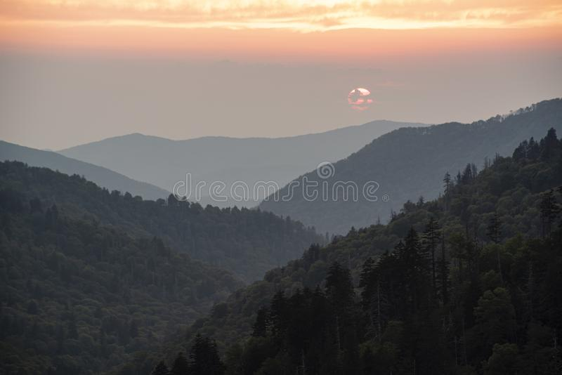 Sunset colors in the Smoky Mountains National Park. royalty free stock photo