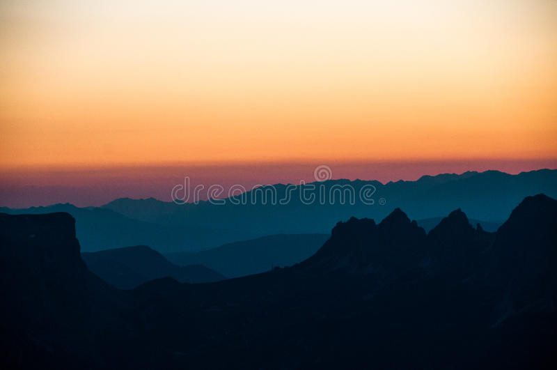 Sunset colors. Sunste smooted colors in a sunny evening in Dolomiti mountains