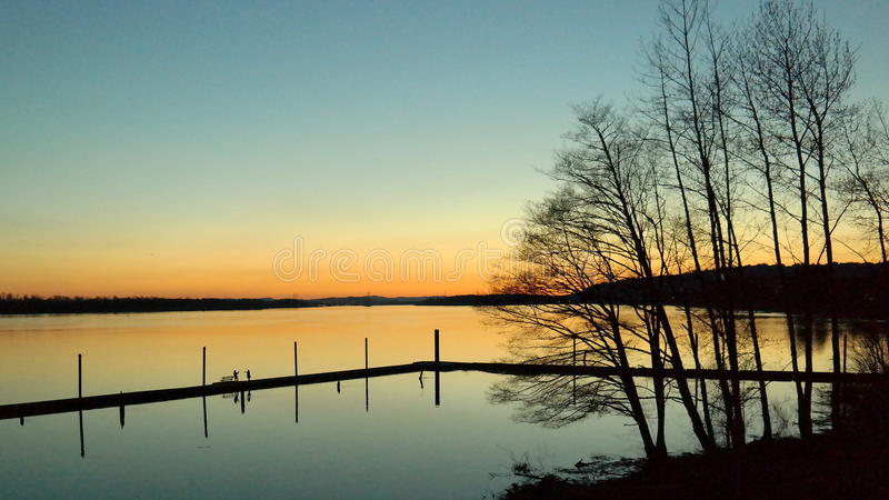 After Sunset On The Columbia River. Columbia river after sunset near Washougal, Washington stock photo