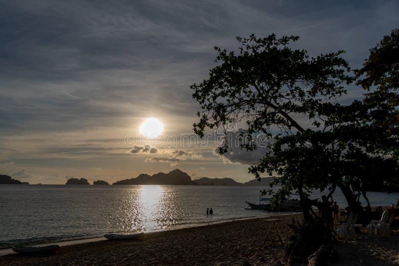 Sunset in 7 Commandos island in El nido, Palawan. Philippines royalty free stock photos