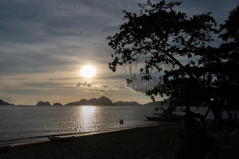 Sunset in 7 Commandos island in El nido, Palawan. Philippines stock photography