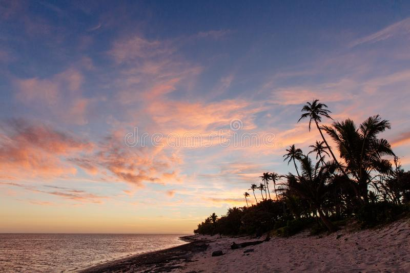 Sunset on the Coral Coast of Fiji royalty free stock photos