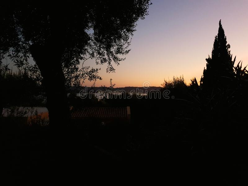 Sunset of corfu royalty free stock photography