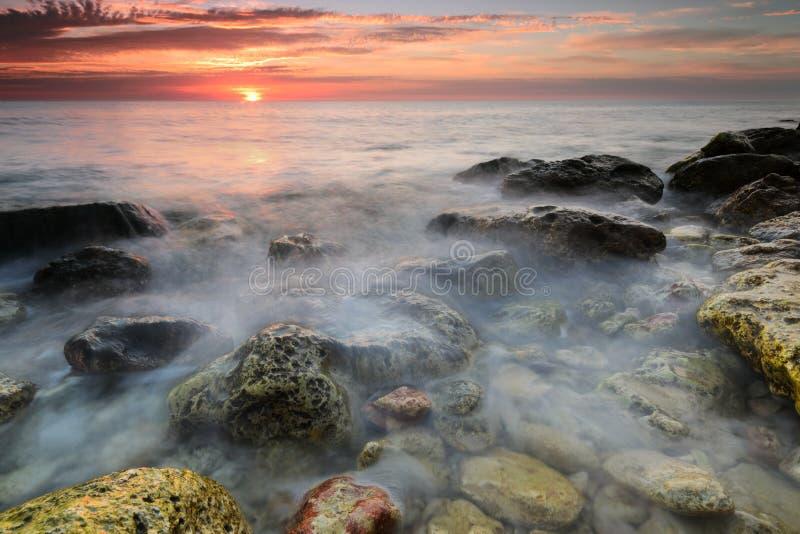 Sunset on the Cossack Bay. Majestic Sunset on the Cossack Bay. Sevastopol, Crimea stock image