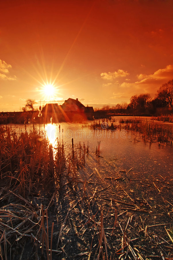 Download Sunset in the country stock image. Image of natural, color - 4536953