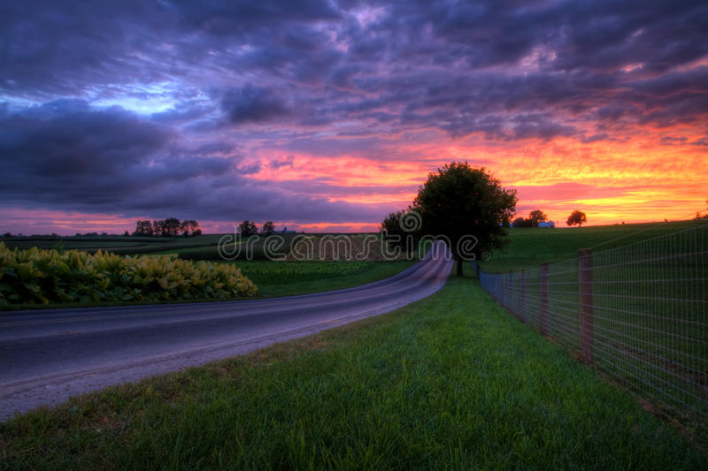 Sunset on a Country Road stock image