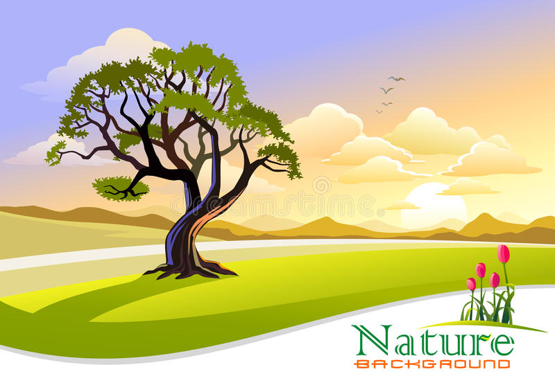 Sunset at Countryside with Graphic Wave Background stock illustration