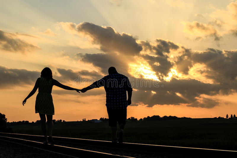 Sunset Couple royalty free stock photos