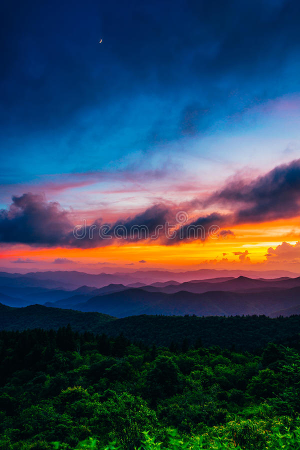Sunset from Cowee Mountains Overlook, on the Blue Ridge Parkway royalty free stock photography