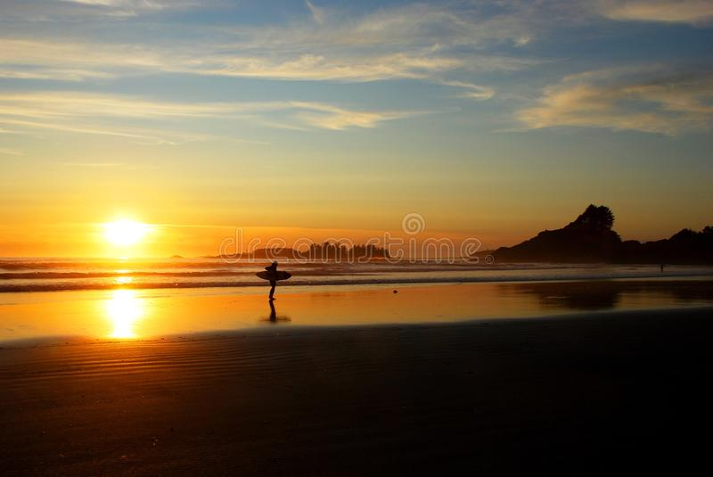 Sunset on Cox Bay royalty free stock photography