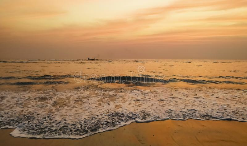Sunset in Cox bazar. The lovely view of sun set at cox bazar. The longest sea beach in the world. Cox`s Bazar. Is a city, fishing port, tourism centre and royalty free stock photos