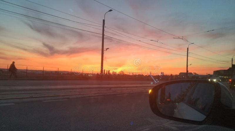 Sunset in Craiova, Rumänien royaltyfria foton