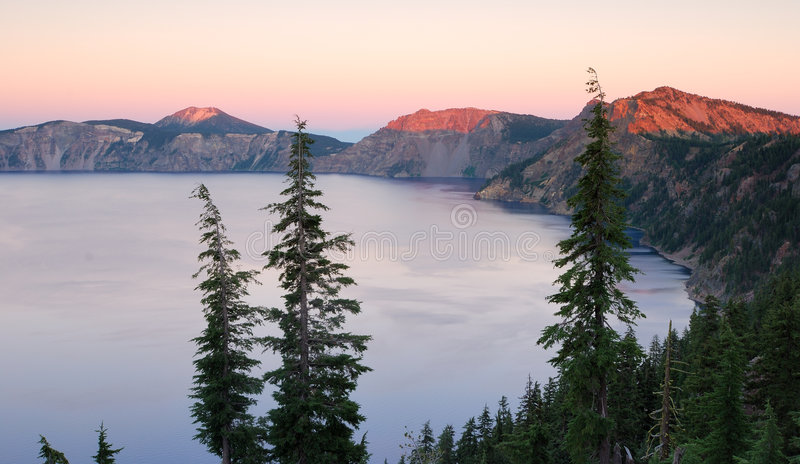 Sunset at Crater Lake royalty free stock photography