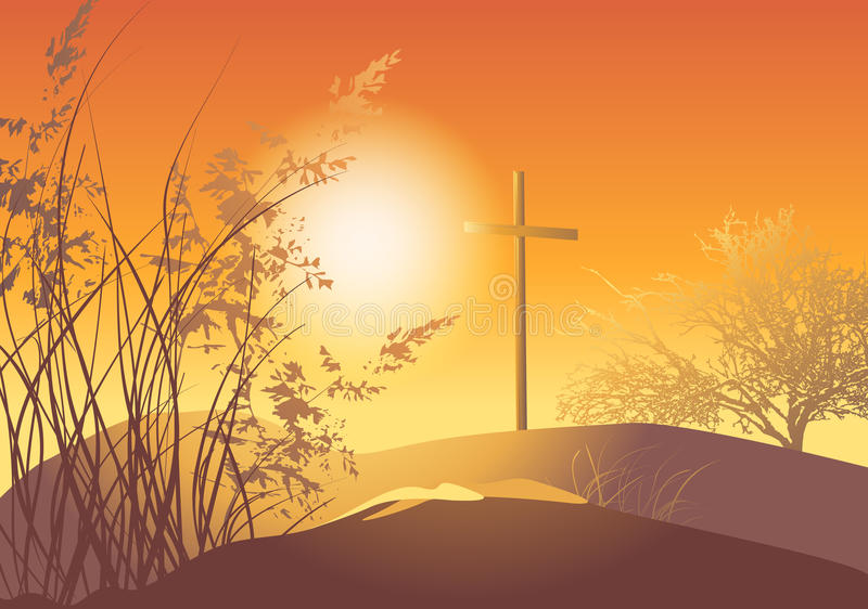Sunset With Cross Royalty Free Stock Images