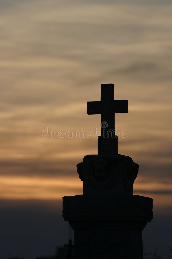 Sunset cross stock photo