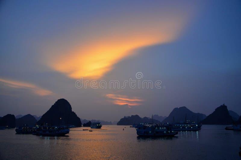 Sunset Ha Long Bay stock photos