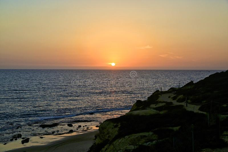 Sunset Crystal Cove Newport Beach California stock photos