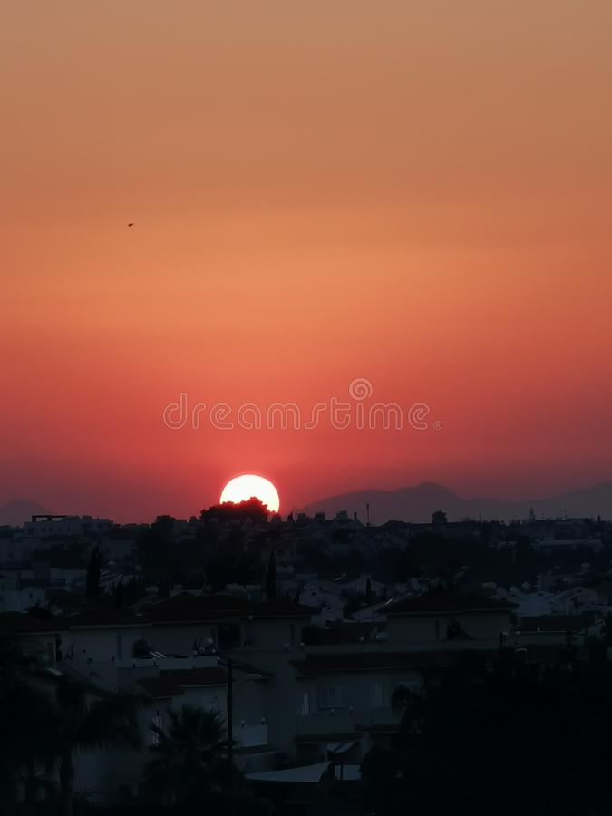 Sunset in Cyprus summer night. royalty free stock image