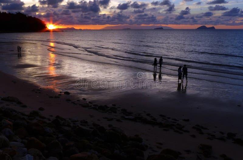 Sunset on Damai Beach, Sarawak Borneo stock image