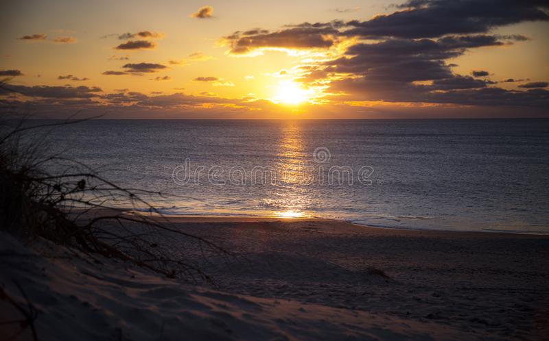 Sunset at the Danish Western coast royalty free stock photo