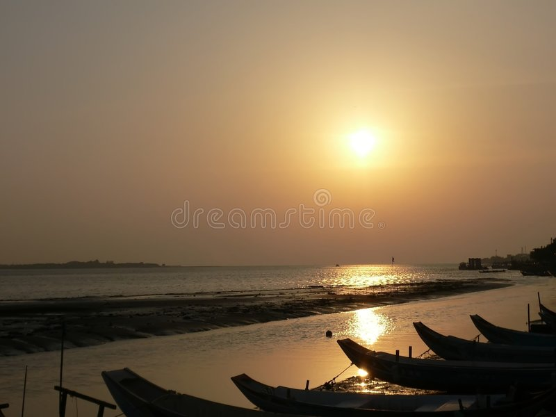 Sunset at Danshui royalty free stock images