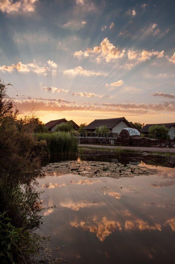 Sunset in Danube Delta stock image