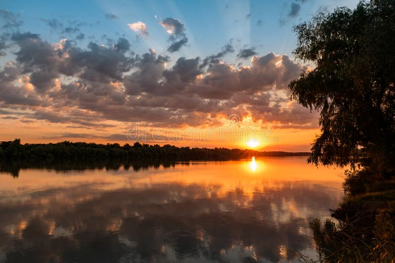 Wild Danube delta colorful sunset royalty free stock image